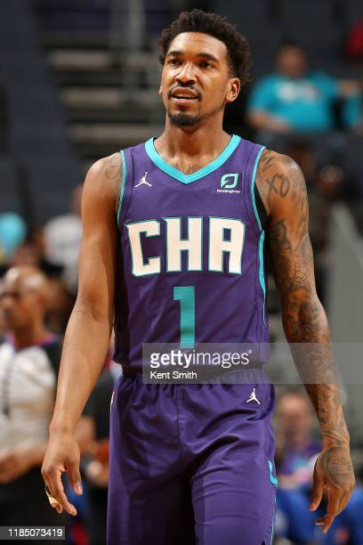Malik Monk of the Charlotte Hornets smiles during the game against the Detroit Pistons on November 27, 2019 at Spectrum Center in Charlotte, North...