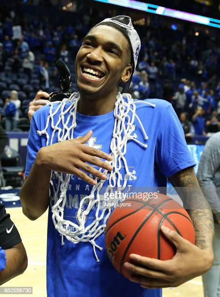 Malik Monk of the Kentucky Wildcats celebrates their 82-65 win over the Arkansas Razorbacks in the championship game at the 2017 Men's SEC Basketball...