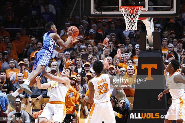 Malik Monk of the Kentucky Wildcats drives to the basket against Lew Evans of the Tennessee Volunteers in the first half of the game at...