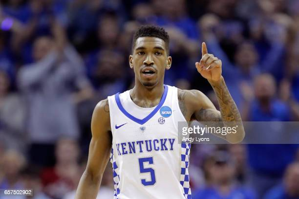 Malik Monk of the Kentucky Wildcats reacts after a play in the second half against the UCLA Bruins during the 2017 NCAA Men's Basketball Tournament...
