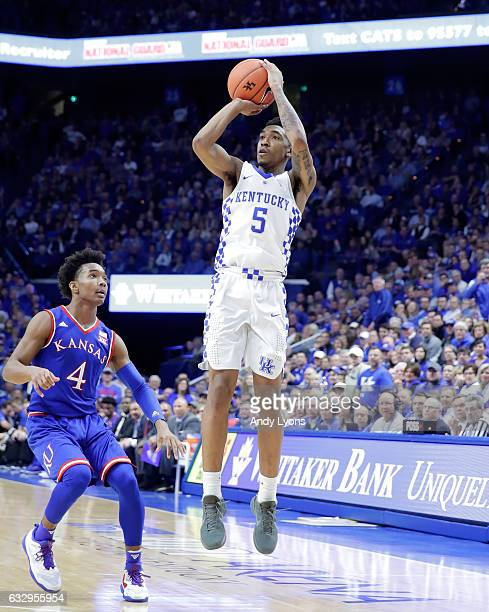 Malik Monk of the Kentucky Wildcats shoots the ball against the Kansas Jayhawks during the game against at Rupp Arena on January 28 2017 in Lexington...