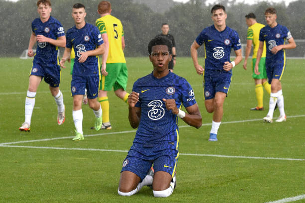 Malik Mothersille of Chelsea celebrates scoring the first goal during the Norwich City v Chelsea U18 Premier League match at the Lotus Training...