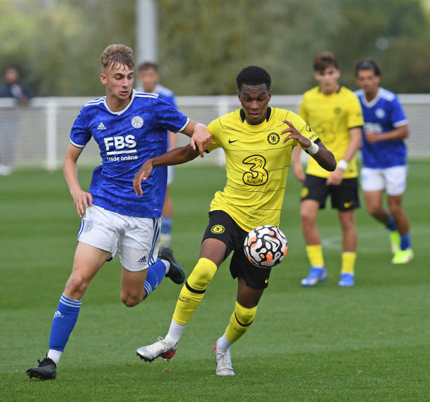 Malik Mothersille of Chelsea gathers the ball during the Leicester City v Chelsea U18 Premier League match on September 25, 2021 in Loughborough,...