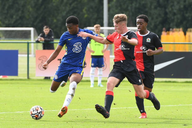 Malik Mothersille of Chelsea scores Chelseas third goal during the Chelsea v Blackburn Rovers U18 Premier League Cup Group D on September 18, 2021 in...