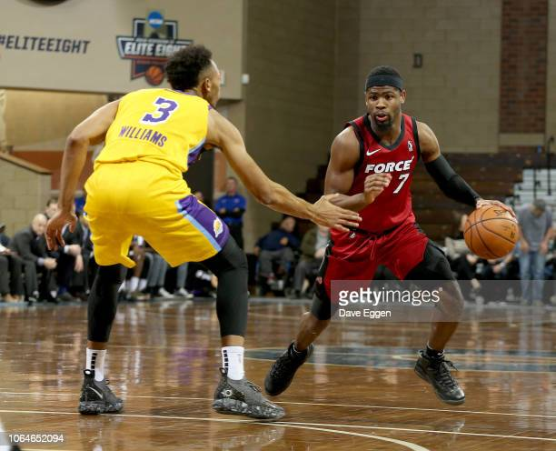 4b17f0b7d Malik Newman from the Sioux Falls Skyforce looks to make a move against  Johnathan Williams from