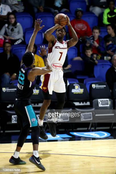 Malik Newman of the Canton Charge shoots the ball against the Greensboro Swarm on January 21 2019 at Greensboro Coliseum Fieldhouse in Greensboro...