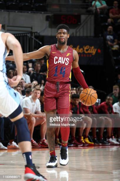 Malik Newman of the Cleveland Cavaliers handles the ball during the game against the Memphis Grizzlies on July 3, 2019 at vivint.SmartHome Arena in...