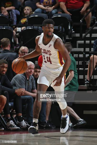 Malik Newman of the Cleveland Cavaliers handles the ball during the game against the San Antonio Spurs on July 1 2019 at vivintSmartHome Arena in...