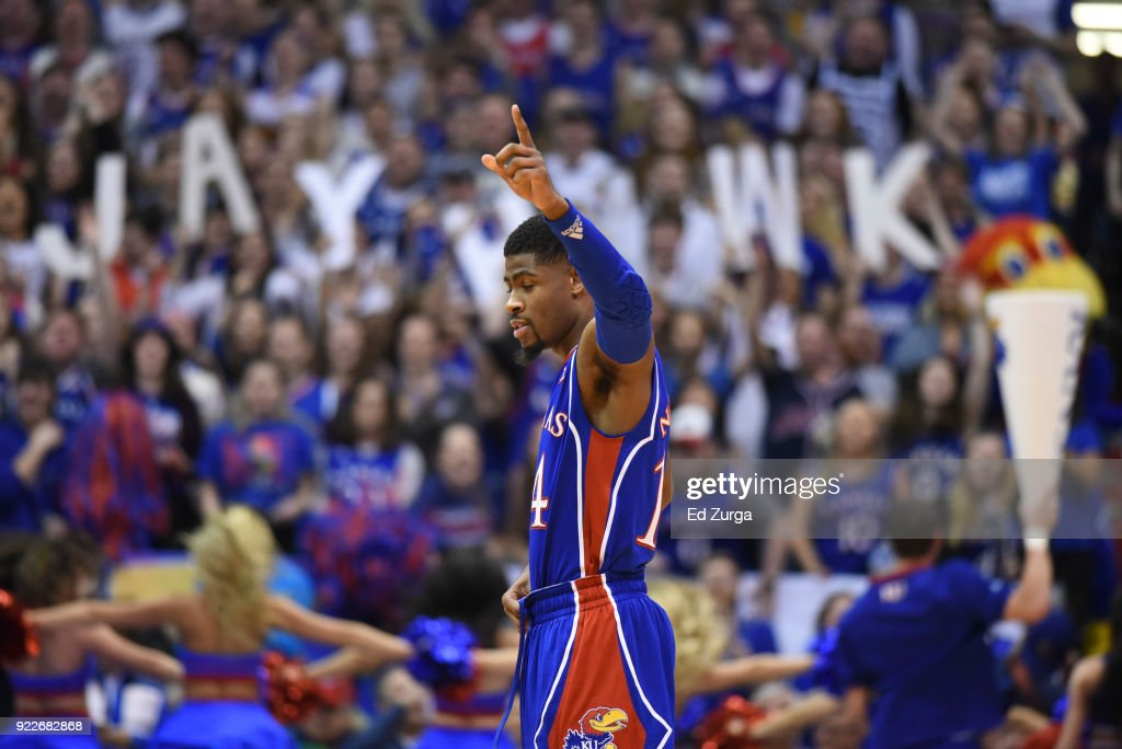 Malik Newman #14 of the Kansas Jayhawks gestures prior to a game against the West Virginia Mountaineers at Allen Fieldhouse on February 17, 2018 in Lawrence, Kansas.