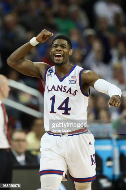 Malik Newman of the Kansas Jayhawks reacts against the Seton Hall Pirates in the second half during the second round of the 2018 NCAA Men's...