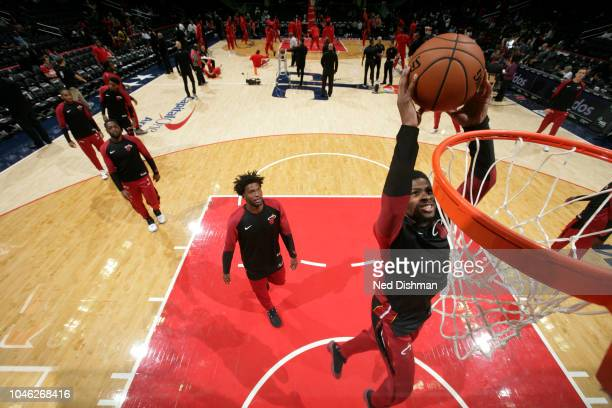Malik Newman of the Miami Heat warms up before a preseason game against Washington Wizards on October 5 2018 at Capital One Arena in Washington DC...
