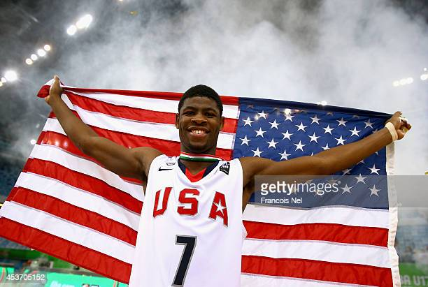 Malik Newman of the United States celebrates after winning the FIBA U17 World Championships Final Match between Australia and the United States of...
