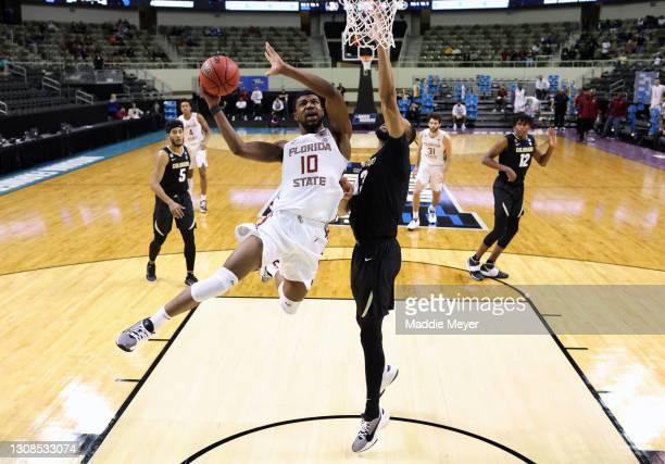 Malik Osborne of the Florida State Seminoles goes up for a shot during the second half against the Colorado Buffaloes in the second round game of the...