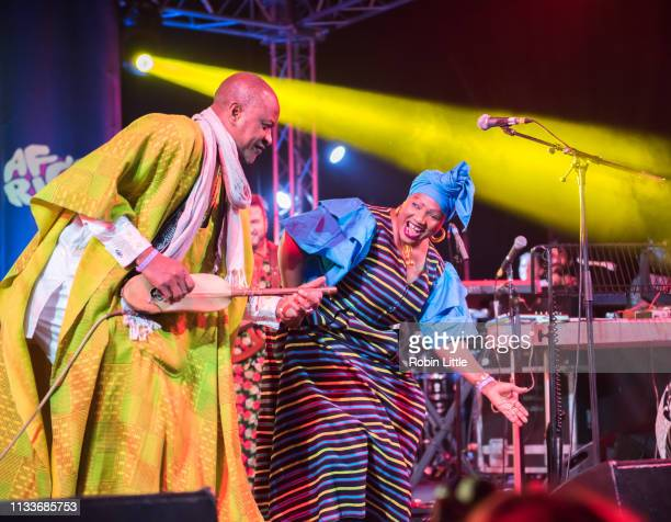 Malik Pathe Sow and Nainy Diabate perform on stage in Africa Express The Circus part of Waltham Forest London Borough of Culture 2019 at the Big Top...