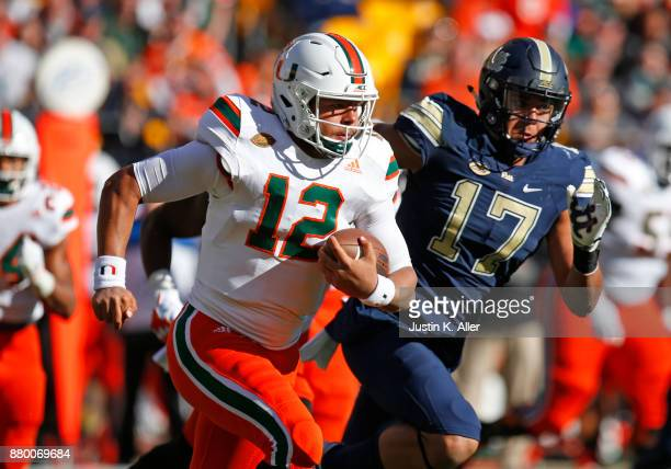 Malik Rosier of the Miami Hurricanes in action against the Pittsburgh Panthers on November 24 2017 at Heinz Field in Pittsburgh Pennsylvania