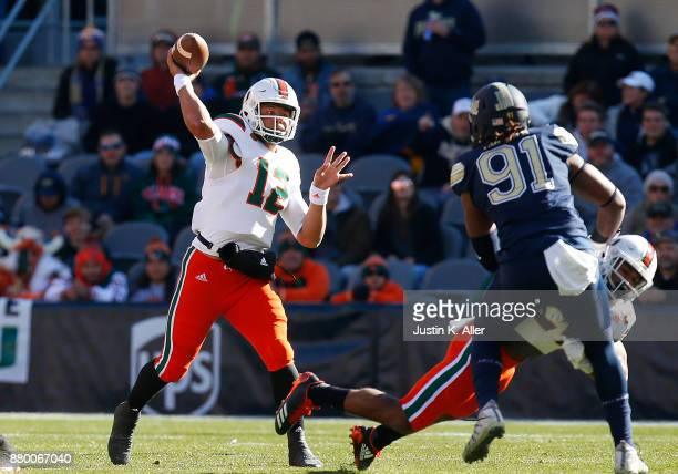 Malik Rosier of the Miami Hurricanes passes against the Pittsburgh Panthers on November 24 2017 at Heinz Field in Pittsburgh Pennsylvania