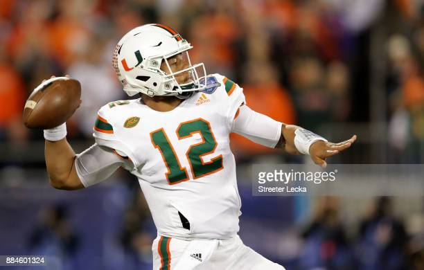 Malik Rosier of the Miami Hurricanes throws a pass against the Clemson Tigers in the first quarter during the ACC Football Championship at Bank of...