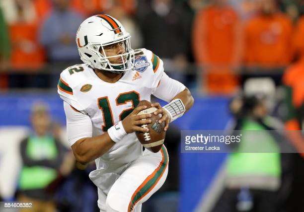 Malik Rosier of the Miami Hurricanes throws a pass against the Clemson Tigers in the second quarter during the ACC Football Championship at Bank of...