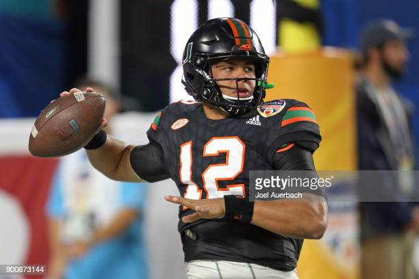 Malik Rosier of the Miami Hurricanes throws the ball prior to the 2017 Capital One Orange Bowl game against the Wisconsin Badgers at Hard Rock...