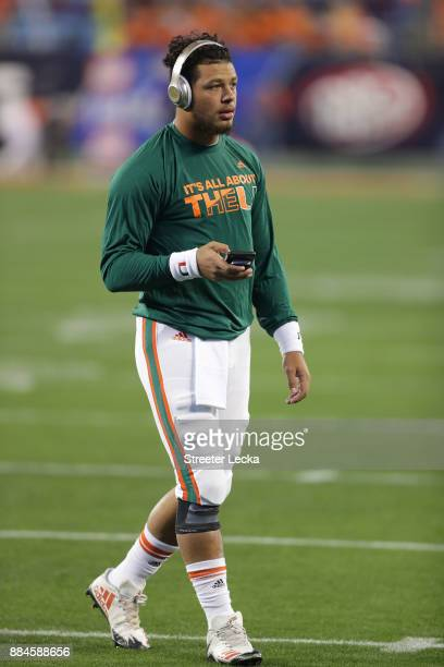 Malik Rosier of the Miami Hurricanes warms up before their game against the Clemson Tigers at the ACC Football Championship at Bank of America...