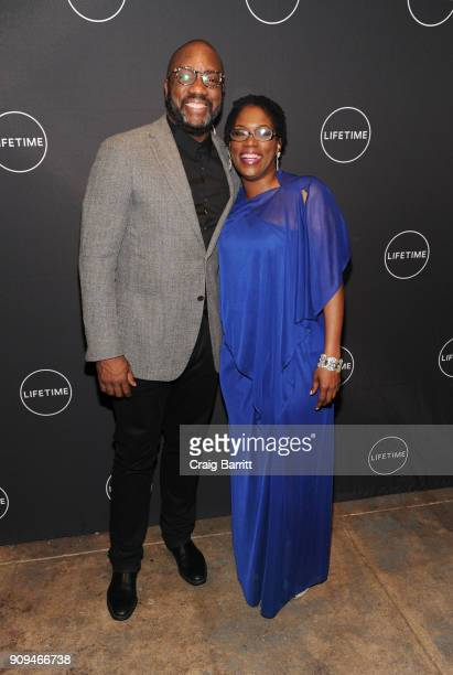 """Malik Yoba and Antoinette Tuff attend Lifetime""""s Film,""""Faith Under Fire: The Antoinette Tuff Story"""" red carpet screening and premiere event at..."""