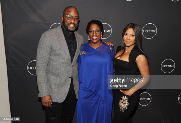 """Malik Yoba, Antoinette Tuff and Toni Braxton attend Lifetime""""s Film,""""Faith Under Fire: The Antoinette Tuff Story"""" red carpet screening and premiere..."""