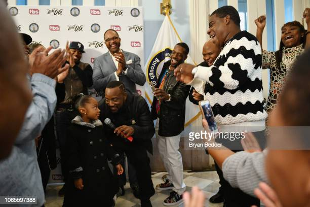 Malik Yoba leads Maven Sonae Morgan and the crowd in singing Happy Birthday to Tracy Morgan during a ceremony presenting Tracy Morgan with a key to...