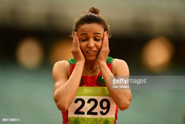 Malika Akkaoui of Morocco reacts after winning the Womens 800m Final during day six of Baku 2017 4th Islamic Solidarity Games at the Baku Olympic...