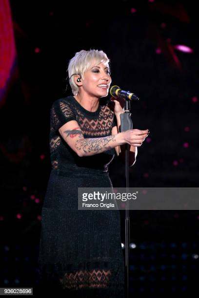 Malika Ayane performs during the 62nd David Di Donatello awards ceremony on March 21 2018 in Rome Italy