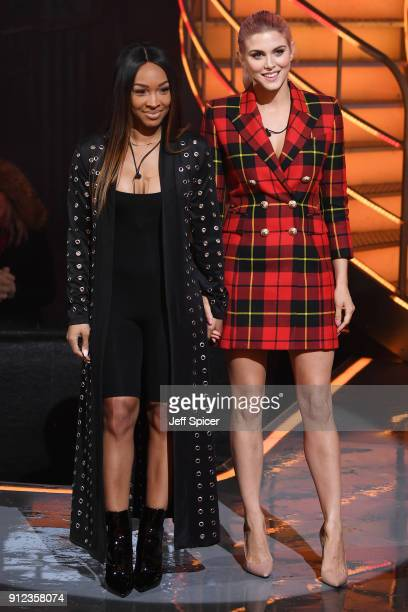 Malika Haqq and Ashley James during the Celebrity Big Brother eviction at Elstree Studios on January 30 2018 in Borehamwood England