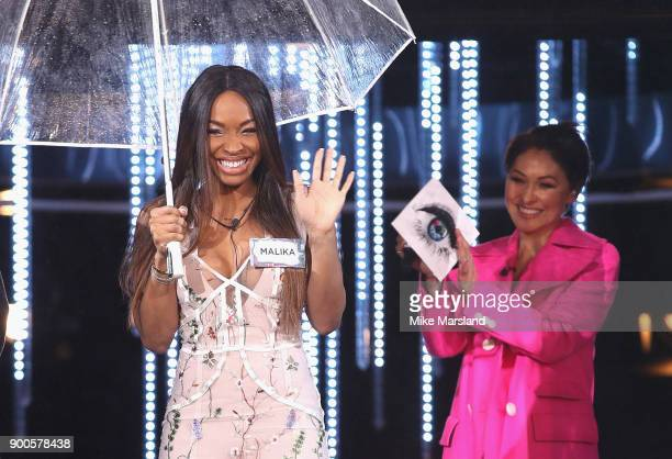 Malika Haqq and Host Emma Willis attend the launch night of Celebrity Big Brother at Elstree Studios on January 2 2018 in Borehamwood England