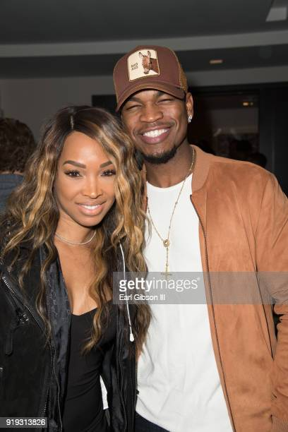Malika Haqq and singer NeYo attend Nipsey Hussle's Private Debut Album Release Party at The London West Hollywood at Beverly Hills on February 16...