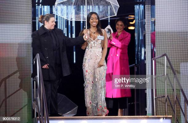 Malika Haqq enters the 'Celebrity Big Brother' House at Elstree Studios on January 2 2018 in Borehamwood England