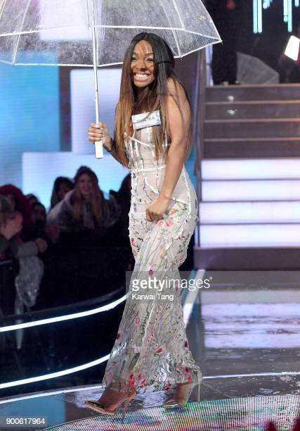 Malika Haqq enters the Celebrity Big Brother house on launch night at Elstree Studios on January 2 2018 in Borehamwood England