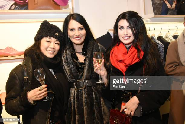 Malika Lambert Sylvie Ortega Munos and Elsa Oesinger attend the Paul Smith and Technikart Party at Paul Smith Marais Shop on March 1 2018 in Paris...