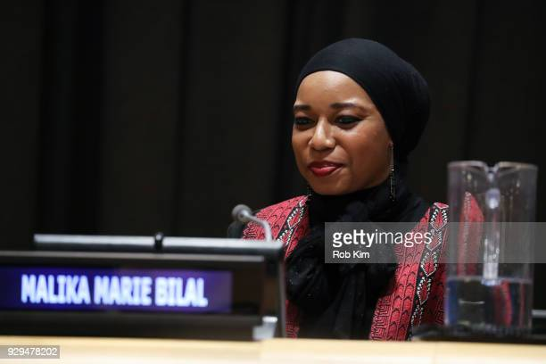 Malika Marie Bilal attends International Women's Day The Role of Media To Empower Women Panel Discussion at the United Nations on March 8 2018 in New...