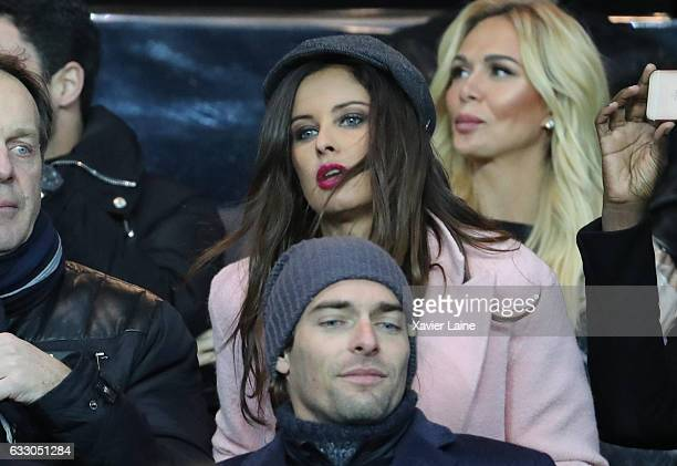 Malika Menard attends the French League 1 match between Paris SaintGermain and AS Monaco at Parc des Princes on January 29 2017 in Paris France