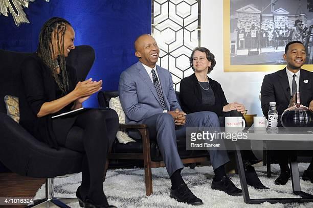 Malika Saada Saar Bryan Stevenson Cecilia Munoz and John Legend speak onstage at An Evening With John Legend hosted by POLITICO to kickoff White...