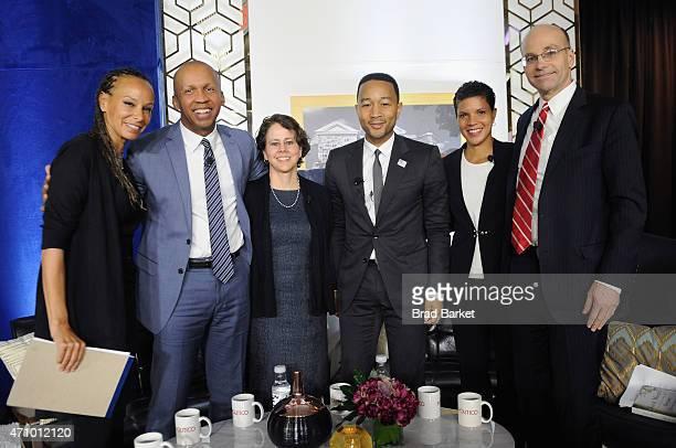Malika Saada Saar Bryan Stevenson Cecilia Munoz John Legend Michelle Alexander and POLITICO chief White House correspondent Mike Allen pose onstage...