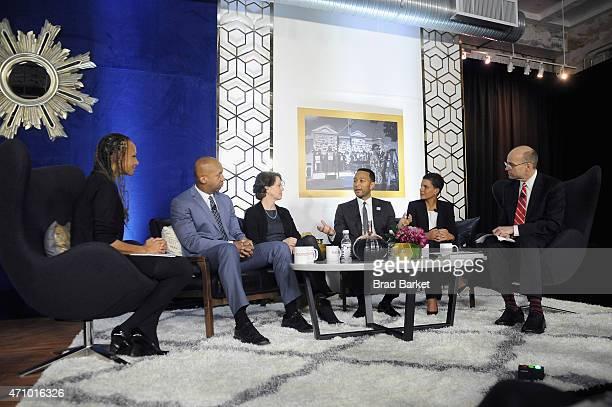 Malika Saada Saar Bryan Stevenson Cecilia Munoz John Legend Michelle Alexander and POLITICO chief White House correspondent Mike Allen speak onstage...