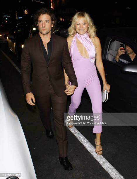 Malin Akerman and Jack Donnelly are seen on October 12 2019 at Los Angeles