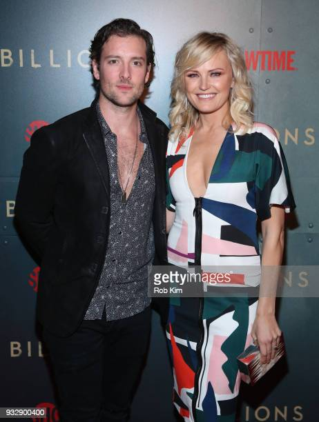 Malin Akerman and Jack Donnelly arrive for BILLIONS Season 3 Premiere Cocktail Party at Mr Purple in New York City on March 15 2018 in New York City