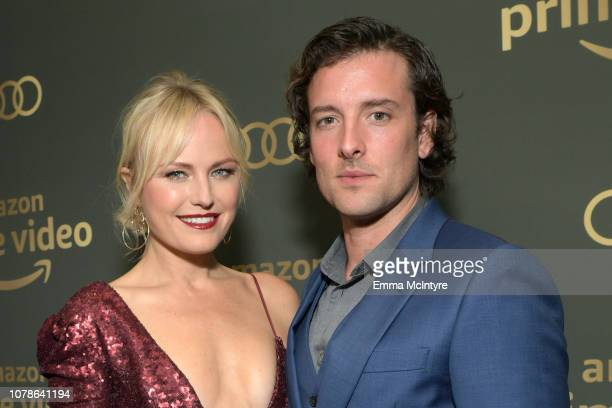 Malin Akerman and Jack Donnelly attend the Amazon Prime Video's Golden Globe Awards After Party at The Beverly Hilton Hotel on January 6 2019 in...