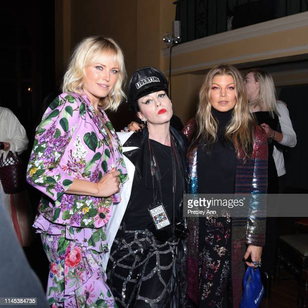 Malin Akerman, B. Akerlund and Fergie attend the Libertine Fall 2019 Runway Show at Ebell of Los Angeles on April 26, 2019 in Los Angeles, California.