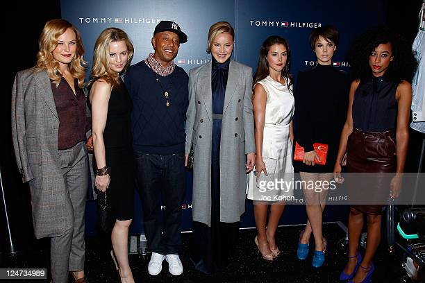 Malin Akerman Melissa George Russell Simmons Abbie Cornish Hanna Ware Alice St Clair and Corinne Bailey Rae pose backstage at the Tommy Hilfiger...