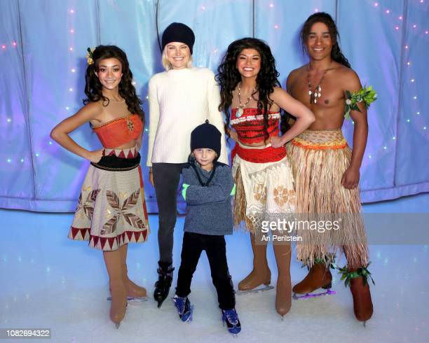 Malin Akerman Moana and Sebastian Zincone attend Disney On Ice Presents Dare to Dream Celebrity Skating Party at Staples Center on December 14 2018...