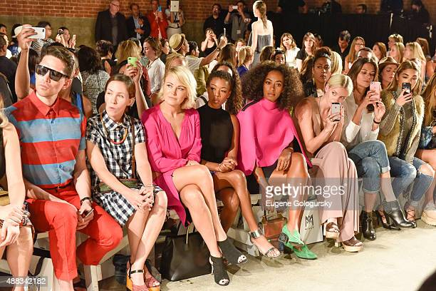 Malin Akerman, Samira Wiley and Solange Knowles attend the Milly during Spring 2016 New York Fashion Week at ArtBeam on September 15, 2015 in New...