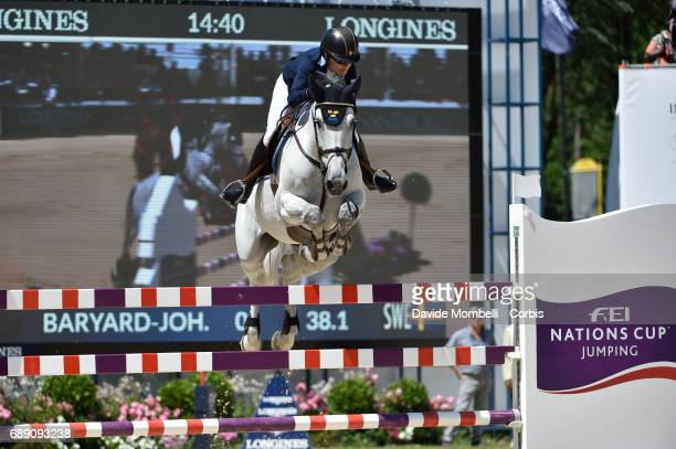 Malin Baryard Johnsson of Sweden riding HM Cue Channa 42 during the FEI Nations Cup Piazza di Siena on May 26 2017 in Villa Borghese Rome Italy