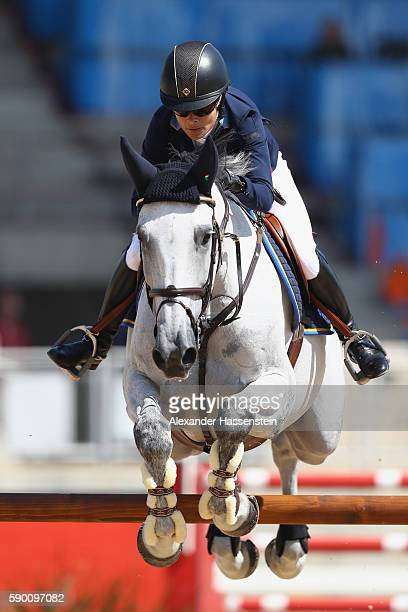 Malin BaryardJohnsson of Sweden rides Cue Channa during the Team Jumping on Day 11 of the Rio 2016 Olympic Games at the Olympic Equestrian Centre on...