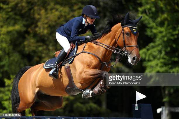 Malin BaryardJohnsson of Sweden riding HM Indiana competes during Day 3 of the Longines FEI Jumping European Championship speed competition against...
